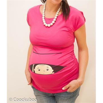 חולצת הריון קוקובו- תינוק מציץ מתוך רוכסן