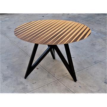 מון -שולחן אוכל עגול מעוצב בפורניר עץ טבעי