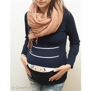 חולצת הריון קוקובו- תינוקת מציצה מתוך רוכסן חולצה שרוול ארוך